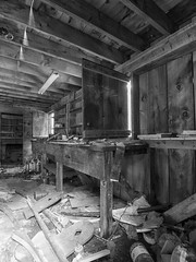 Grist Mill Workshop (Brian Rome Photography) Tags: travel roadtrip abandoned abandonedseekers abandonedthemepark deserted old beauty photo photograph light decay decayed urbandecay ruins ruin indoor interior ruined lostspace forgotten derelict styleanddecay america renegadeabandoned