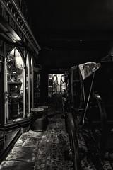 imgp0416 LR (douglasjarvis995) Tags: bnw monochrome mono street york yorkshire pentax k1 window shop shops historic history old cobblestone road path wheel buggy carriage yorkcastlemuseum