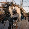 Chief. Is he Aztec or Incan? Shot with a Yashica Mat-124G on Portrait 400. (SuperCollider) Tags: skeleton feathers headdress chief incan aztec richardlab streetmeetla yashicamat124g color film mediumformat scans medium format square portra 400