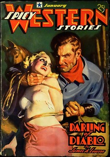 Spicy Western Stories Vol. 1, No. 3 (January, 1937). Cover Art by H. J. Ward