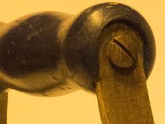 Antique (Alef1961) Tags: iron wood madera hierro screw tornillo monocromatic monocromo macromondays yellow amarillo monochrome