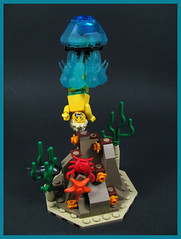 Watch out! There are Jellyfish! (Karf Oohlu) Tags: lego moc minifig jellyfish vignette underwater swimmer jellyfishattack crab starfish fish