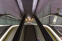 Subway Looking Down (Explore 2018-02-20) (Johan Konz) Tags: subway northsouthline 52 amsterdam escalator station vijzelgracht transportation indoor nzline metro symmetry architecture urban design ceiling wall geometric nikon d7500 lines curves city urbanlife people