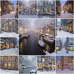 Amsterdam's winter charm shines in fairy lights (B℮n) Tags: fdsflickrtoys amsterdam snow covered bikes bycicles holland netherlands canals winter cold wester church jordaan street anne frank house dutch people scooter gezellig cafés snowy snowfall atmosphere colorful windows walk walking bike cozy water canal weather cool sunset file celcius mokum pakhuis grachtengordel unesco world heritage sled sleding slee seagulls meeuwen bycicle 1°c shadows sneeuw slippery glad flakes handheld wind nieuweleliestraat café denieuwelelie heineken snowman rolling sneeuwpop rollen best collage collection mosaic 50faves topf50 100faves topf100