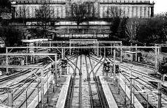 Central Line! (BGDL) Tags: lightroomcc nikond7000 bgdl urban afsnikkor55200mm1456g railwaylines edinburgh waverley 7daysofshooting week27 banginthemiddle blackandwhitewednesday