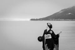 On the lakeside in winter (HarQ Photography) Tags: monochrome blackandwhite fujifilm fujifilmxseries xt2 xf50140mmf28rlmoiswr portrait conceptual lake lakeside japan lakebiwa kimono traditionalstyle