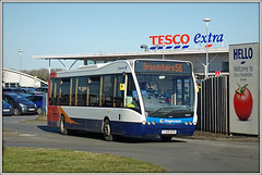 NO I DID NOT! (Jason 87030) Tags: optare stagecoach thanet westwoodcross carpark tes east february 2018 red white blue orange tossco supermarket vist crooks criminals thieves corrupt unethical bastards crapmanagement bus 56 broadstairs kent uk poorquality advert tossers wankers extra eastkent southeast light sun sunny shitcompany chavs hell 25242 yj59gfk