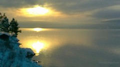 """""""Friday"""", just the word give you peace, I hope. (evakongshavn) Tags: sunset golden new light yellow snowglobe snow winter winterwonderland water waterscape fjord wonderfulworld"""
