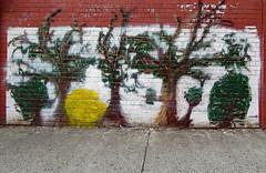 22nd St - East of 7th Avenue (TheMachineStops) Tags: 2018 manhattan outdoor nyc newyorkcity vehicle repair art publicart graffiti trees brick streetart
