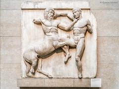 DSC7577 Un Lapita lucha contra un Centauro, Metopa del lado Sur del Partenón, 437-432 a.C., Atenas, British Museum, London (Ramón Muñoz - Fotografía) Tags: british museum museo británico londres london relieve relieves partenón metopas del mármoles elgin centauros lapitas