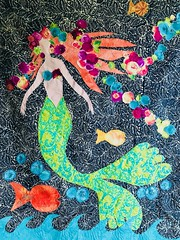 Things are going swimmingly (enovember) Tags: fish shells mermaid quilt fiber art artquilt wallhanging