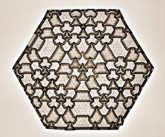 Tessellation Btt-3 (Marjan Smeijsters) (De Rode Olifant) Tags: origami marjansmeijsters btt3 paper paperfolding tessellation btt4 butterflymolecule connection5 hexagon triangle pattern monochrome geometric backlit butterfly
