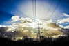 power lines (Paul Wrights Reserved) Tags: sunburts sun clouds cloudscape sky skyscape power powerful powerlines pylon leadinglines