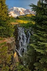 Morning at Myrtle Falls (Philip Kuntz) Tags: myrtlefalls edithcreek sunrise morning dawn waterfall mtrainier volcano washington singleexposure