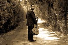 Sepia Guitarist (stelios_ioannides) Tags: sepia guitar guitarist woods trees alley people classicalguitar
