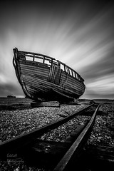 Abandoned at Dungeness (ed027) Tags: ifttt 500px line sky sea winter boat cold beach stones ocean railway texture black white ship boats seascape fish fishing stone abandoned blur lines long exposure track seaside seashore wooden rail shipwreck mono coastal