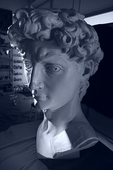 P2020148astt (photos-by-sherm) Tags: michelangelo bust david replica cameron art museum wilmington nc pancoe center winter spotlight floodlights kissing