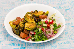 Friday dinner. Crispy Balsamic Brussels sprouts with Spam and a spicy limey fennel salad 💚 (garydlum) Tags: limezest belconnen parsley iodisedsalt limejuice fennel coriander balsamicvinegar fennelsalad spam brusselssprouts radish springonions canberra redonion birdseyechillies