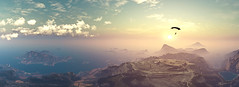 Free Like a Bird (Stachmo) Tags: free like bird just cause 3 panorama reshade parachute adventure sunset landscape video game gaming screenshot digital art