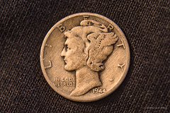 Liberty Dime (Back Road Photography (Kevin W. Jerrell)) Tags: money dime stilllife closeups macrolife macro oldstuff collectibles