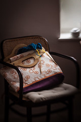 Bicycle Bag and Knitting Project (suzanne~) Tags: annesbag bag chair home kitchen knitting window seat lensbaby sweet80 handmade