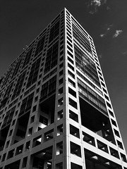 Fuji TV Building, Odaiba, Tokyo (gt223) Tags: urban city architecture metal modernarchitecture modern blackandwhite bw tokyo odaiba fujitvbuilding fujitv
