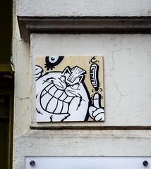 HH-Installations 1989 (cmdpirx) Tags: hamburg germany reclaim your city urban street art streetart artist kuenstler graffiti aerosol spray can paint piece painting drawing colour color farbe spraydose dose marker stift kreide chalk stencil schablone wall wand nikon d7100 installation install cement glue kleber klebstoff tile kachel styrodur styropor vinyl lp cd style guerilla knitting yawn bombing tape inst cutout yarn