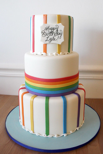 Rainbow Stripes Birthday Cake