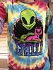 My alien shirt I'm wearing today (f l a m i n g o) Tags: rainbow tyedye green cat alien shirt