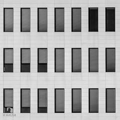 The Sentinel (ARTUS8) Tags: quadratisch squareformat fassade flickr nikon28300mmf3556 blackwhite muster menschen linien fenster nikond800 pattern personen geometrisch architektur symmetrie