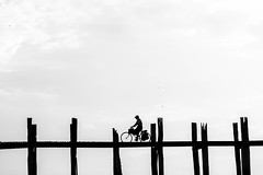 Amarapura, Myanmar (gstads) Tags: amarapura mandalay myanmar burma birma birmanie burmese bridge ubein teak wood wooden bike bicycle cyclist backlight bw blackandwhite blackwhite noiretblanc monochrome minimal minimalist minimalistic minimalism lessismore ngc