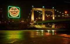 Hennepin Ave Bridge & Re-lit Grain Belt Beer Sign (Rivers, Lakes, Nature & Architecture) Tags: bridge sign beer hennepin mississippi river grainbelt led frozen winter ice schells city minneapolis minnesota longexposure downtown