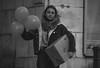 Sacré cadeau ! (clemgateau) Tags: nikon challenge birthday 100ans 100years blackandwhitephoto bw bnw portrait girl gift baloon smile