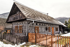 Traditional Slovak wooden house (mystero233) Tags: cicmany history house paint tradition traditional painting wood woodenhouse old fence winter slovakia skanzen slovensko snow outdoor landscape