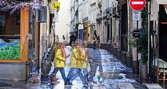 ghosts of St.-Germain (albyn.davis) Tags: paris france europe people street walking rain wet manipulation color yellow