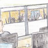 # 254 2018-01-19 (h e r m a n) Tags: herman illustratie tekening 10x10cm tegeltje drawing illustration karton carton cardboard kunst art kantoor office computer laptop people collegas colleagues