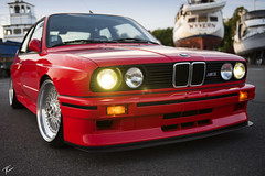 John's E30 M3 (Travis Cuykendall) Tags: 1990 bmw m3 e30 gods chariot nikon d750 2470 28 bokeh wide red bbs rs 212 low lowered flush stance stanceworks slammed everett washington nikkor car