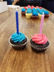 Happy 14th birthday Flickr! (pr0digie) Tags: cupcake flickr blue pink frosting candles cupcakes