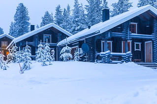 Travel Destinations Ideas. Line of Illuminated Wooden Houses Located in Tranquil Picturesque Nordic Forest in Scandinavia At Christmas Time.