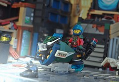 The Law; On Patrol (W. Navarre) Tags: lsb lego scene all light shiny speeder bike future apocalypse