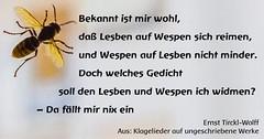 Klagelied auf ungeschriebene Werke (ernst_tircklwolff) Tags: text wespe lesbe gedicht