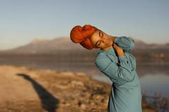 Being sunset (Tania Cervián) Tags: seleccionar woman portrait sunset atardecer headscarf pañuelo black blackwoman dress blue lake lago canon taniacervianphotography