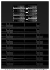 Taller and Brighter (reassembling.visions) Tags: archonly architecture tokyo токио 東京市 carlzeiss manualfocus manuallens nikond800 blackandwhite repeatingpatterns abstract perspectivecorrection darktable asia japan spring milvus1450