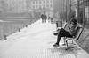 nostalgia (inma F) Tags: italia milan agua banco calle canal edificio gente reflejo viajes man rio travel soledad bnw bw monochrome