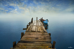 protection (dim.pagiantzas   photography) Tags: protection sea seascape seaside bridge mole boat boats perspective nature water waterscape blue bluesky sky clouds cloudy rainy horizon fog wood wooden textures colors colorfull fishing light ambient autumn