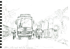 On the road, India (Croctoo) Tags: croctoo croctoofr croquis crayon transports bus route india inde