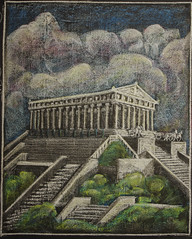 """5th Grade: Main Lesson; Ancient History and Mythology; Greece: Temple""""While we Ourselves Such a Structure Might Raise"""". (ArneKaiser) Tags: 5thgrade 5thgradefarewell boarddrawings edited mrkaisersclass pineforestschool waldorf chalk chalkart chalkboard chalkdrawings"""