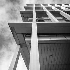 (Chris B70D) Tags: reiach hall city glasgow college campus architecture rational grid facade black white blackandwhite elevation massing form function scotland west street stair tree window glazing landscape civic space light shade mobile phone pics sony xperia z5 compact grey greyscale shadow winter architectural photography distortion perspective view scale urban