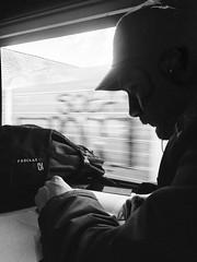 L'inconnu qui prenait le train... (fourmi_7) Tags: nb noirblanc barbu homme nord hautsdefrance ligne voyage inconnu rentrer ter wagon train