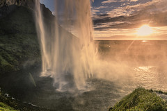 The veil of light (Sizun Eye) Tags: seljalandsfoss waterfall veil water light sunset nature iceland natural beauty beautiful pretty falls north sizuneye tamron2470mmf28 tamron nikond750 d750